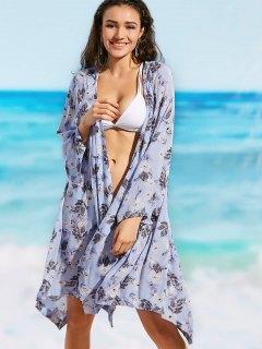 Long Sleeve Floral Beach Kimono - Floral S