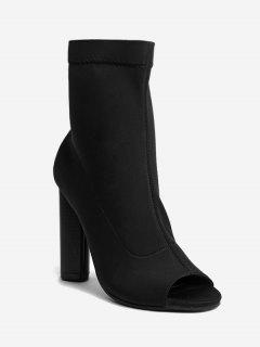 Chunky Heel Peep Toe Ankle Boots - Black 40