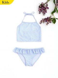 Striped Halter Ruffles Kids Bikini - Stripe 8t