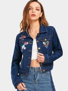 Button Up Floral Bird Appliqué En Denim Jacket - Bleu Foncé L