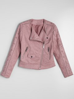 Cropped Zip Up Fuax Suede Jacket - Pink M