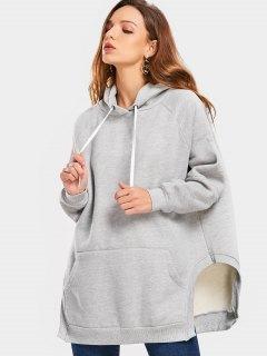 Raglan Sleeve Front Pocket Slit Hoodie - Gray S