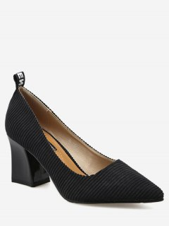 Chunky Heel Pointed Toe Stripes Pumps - Black 39