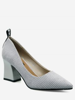 Chunky Heel Pointed Toe Stripes Pumps - Gray 36
