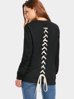 Back Lace Up Longline Weatshirt - Black S