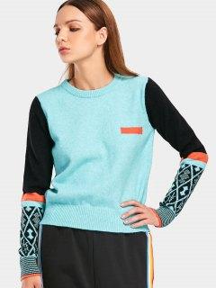 Contrast Geometric Graphic Sweater - Light Blue