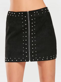 Zippered Rivet Embellished Faux Suede Skirt - Black S
