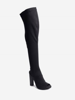 Slingback Peep Toe Chunky Thigh High Boots - Black 39