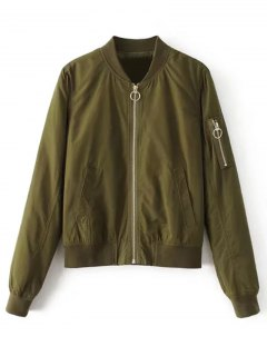 Zip Up Zippered Sleeve Bomber Jacket - Army Green S
