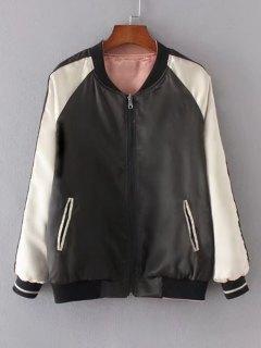Zip Up Crane Embroidered Baseball Jacket - Black Xs
