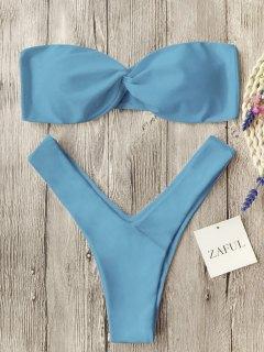 Twist Front Bandeau Thong Bikini - Light Blue M