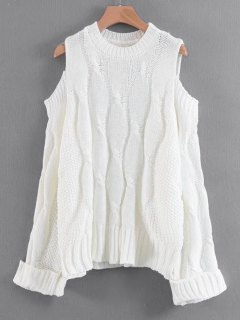 Curled Sleeve Cold Shoulder Cable Knit Sweater - White
