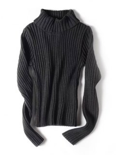 Stretchy Turtleneck Ribbed Sweater - Deep Gray S