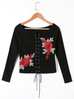 Floral Embroidered Lace Up Ribbed Ralgan Sleeve Top - Black S