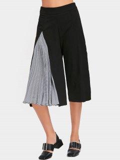 High Waist Striped Pleated Gaucho Pants - Black S