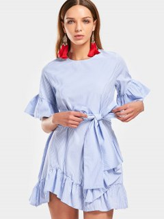Flare Sleeve Ruffled Striped Belted Dress - Light Blue S