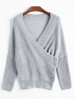 Overlap Off The Shoulder Knitted  Sweater - Gray
