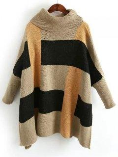 Color Block Side Slit Turtleneck Sweater - Multicolor