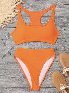 High Cut Racerback Sporty Bikini - Orange M