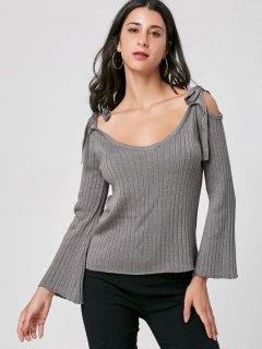 Tie Shoulder Ribbed Knitwear - Gray Xl