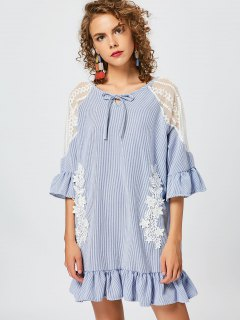 Flower Applique Striped Tunic Dress - Blue