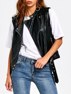 Zipper Pockets Epaulet PU Leather Waistcoat - Black 2xl