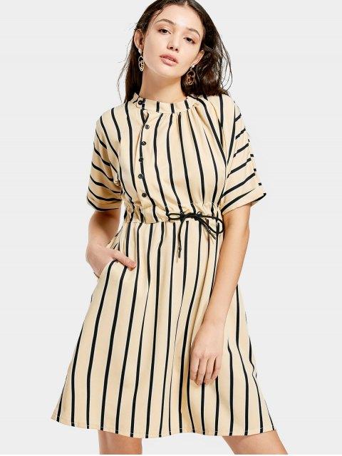 buy Half Sleeve Drawstring Striped Dress - APRICOT S Mobile