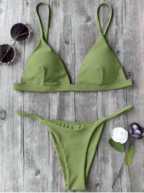 ladies Spaghetti Straps Plunge Thong Bikini Set - GRASS GREEN S Mobile