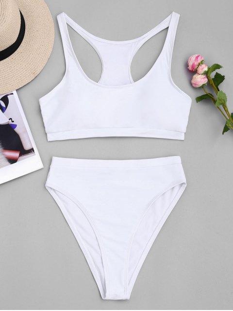 online High Cut Racerback Sporty Bikini - WHITE S Mobile