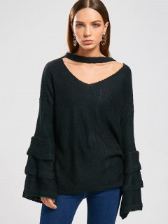 Tiered Sleeve Pullover Choker Sweater - Black