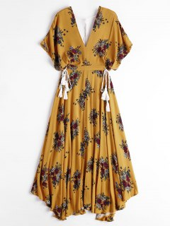 Batwing Floral Cut Out Maxi Dress - Yellow M