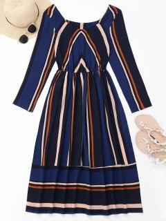 Long Sleeve Striped Mid Calf Dress - Deep Blue M