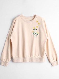 Sunflower Embroidered Sweatshirt - Apricot