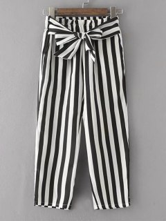 Bowknot Stripes Straight Pants - Stripe M