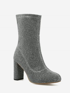 Pointed Toe Chunky Heel Zip Boots - Silver 36