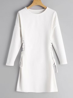 Long Sleeve Lace Up A Line Dress - White S