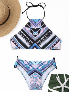 Geometrical Print High Neck Bikini Set - L