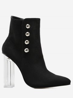 Chunky Heel Transparent Stud Ankle Boots - Black 40
