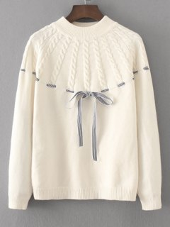 Bowknot Cable Knit Panel Sweater - White