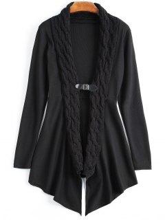 Cable Knit Asymmetric Shawl Cardigan - Black L
