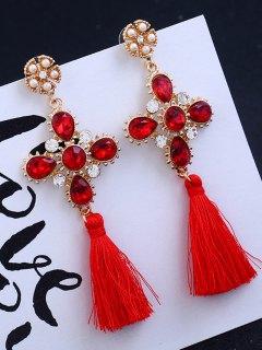Cross Design Rhinestone Floral Tassel Drop Earrings - Red