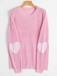 Heart Patch Elbow Pullover Sweater - Light Pink S