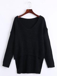 V Neck High Low Drop Shoulder Chunky Sweater - Black