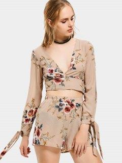 Floral Print Crop Top And Shorts Set - Khaki Xl