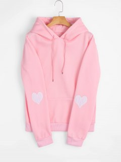Heart Embroidered Hoodie With Pocket - Pink L
