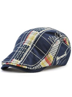 Retro Tartan Embroidery Patchwork Driver Hat - Deep Blue