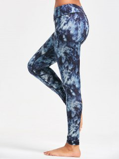 Pocket Insert Tie Dye Sports Leggings - Purplish Blue L