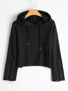 Cropped Lace Up Sleeve Hoodie - Black S
