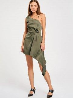 Backless One Shoulder Asymmetric Prom Dress - Army Green L