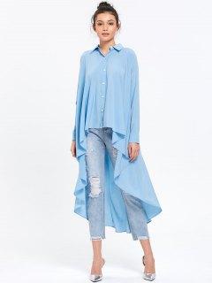 Longline High Low Hem Blouse - Light Blue Xl
